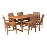 Walker Edison 7-Piece Extendable Outdoor Patio Dining Set - Brown