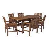 Walker Edison 7-Piece Extendable Outdoor Patio Dining Set - Dark Brown