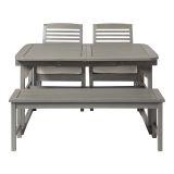 Walker Edison 4-Piece Classic Outdoor Patio Dining Set - Grey Wash