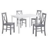 Walker Edison 5-Piece Solid Wood Farmhouse Dining Set - White/Grey