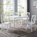 Walker Edison 5-Piece Solid Wood Farmhouse Dining Set - White/White