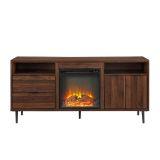 "Walker Edison 60"" Modern Storage Fireplace Console - Dark Walnut"