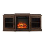 "Walker Edison 60"" Classic Tiered Top Fireplace TV Console-Dark Walnut"