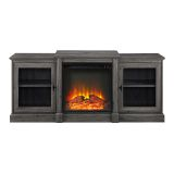 """Walker Edison 60"""" Classic Tiered Top Fireplace TV Console - Slate Grey"""