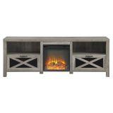 "Walker Edison 70"" Rustic Farmhouse Fireplace TV Stand - Grey Wash"
