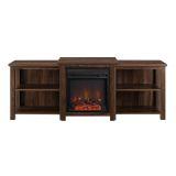 """Walker Edison 70"""" Tiered Top Open Shelf Fireplace TV Console - Walnut"""