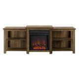 """Walker Edison 70"""" Tiered Top Open Shelf Fireplace TV Console-Barnwood"""
