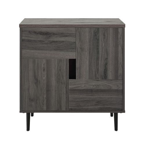 Walker Edison 30'' Color Pop Accent Cabinet - Slate Grey/Red Interior