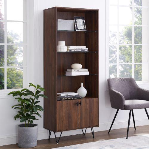 Walker Edison 68'' Mid-Century Modern Storage Cabinet - Dark Walnut