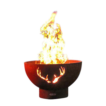 Firepit Art Antlers Match Lit Fire Pit with Stainless Steel Burner - Liquid Propane