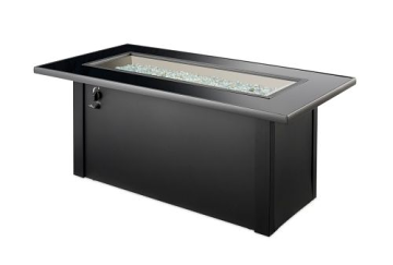 Monte Carlo Crystal Fire Pit Table with Black Glass Top