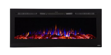 """Sideline 50"""" Wide Recessed Electric Fireplace - Black"""