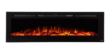 """Sideline 72"""" Recessed Electric Fireplace with Heat - Black"""