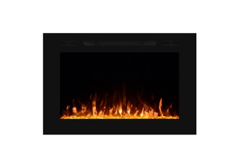 "Forte 40"" Wall Inset Design Recessed Electric Fireplace - Black"