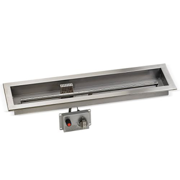 "30"" x 6"" SS Linear Drop-in Fire Pit Pan w/E.I. System kit - LP"