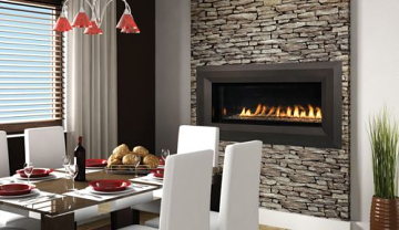 "Superior 43"" Electronic Linear Vent-Free Fireplace w/Lights & Glass Pebbles-NG"