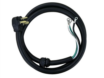 6' 50A Power Cord with Open End Plug - Black