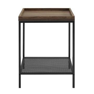 Walker Edison Tray Side Table with Mesh Metal Shelf - Dark Walnut
