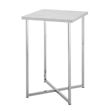 Walker Edison Modern Glam Square Side Table - Faux White Marble/Chrome