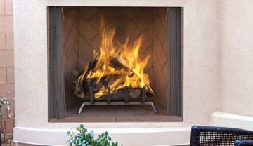 """50"""" OD Wood Burning Fireplace with Ivory Split Stacked Liner"""