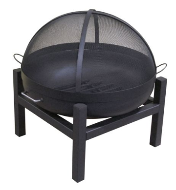 """30"""" Round Fire Pit with Square 4 Leg Base, SS Dome Screen and Grate"""