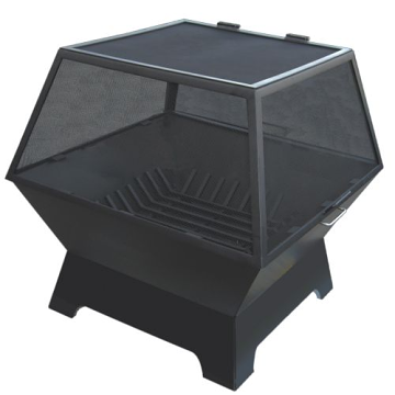 """30"""" x 24"""" Rectangular Fire Pit w/Carbon Steel Hinged Screen and Grate"""