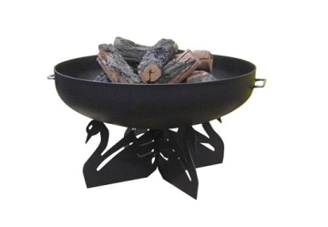 """36"""" Round Fire Pit with Black Swan Base, Hybrid Dome Screen and Grate"""