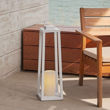 Real Flame 160-WHT Redvale 24'' Lantern with Flameless Candle in White