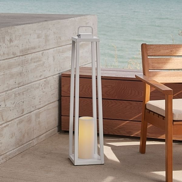 Real Flame 161-WHT Redvale 32'' Lantern with Flameless Candle in White