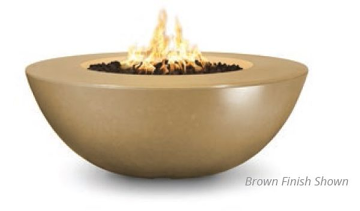 60'' Sedona Wide Lip Concrete Electronic Ignition Fire Pit in Coffee-LP