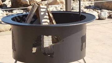 "Buck Stove 30"" Round Wildlife Pattern Fire Pit in Black"