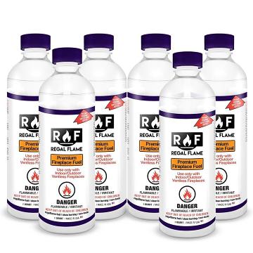 Regal Flame 6PFUEL Premium Signature Ventless Bio Ethanol Fireplace Fuel - 6 Quarts