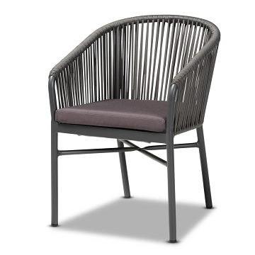 Baxton Studio Marcus Grey Rope and Metal Outdoor Dining Chair