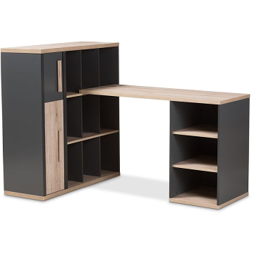 Dark Grey- Light Brown Two-Tone Study Desk with Built-in Shelving Unit