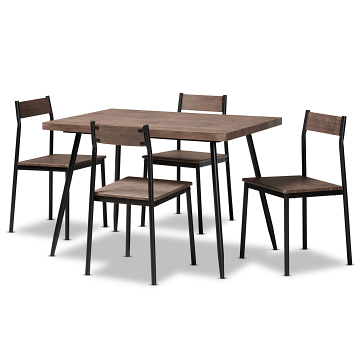 Baxton Studio Mave Modern Dining Set - Walnut/Black