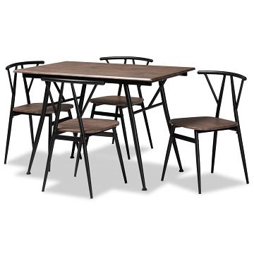 Baxton Studio Ciara Modern Dining Set - Walnut/Black