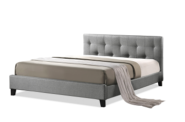 Annette Gray Linen Modern Bed with Upholstered Headboard - Queen Size