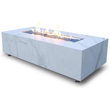 Elementi OFP121BW-NG Carrara Marble Porcelain Fire Table - Natural Gas