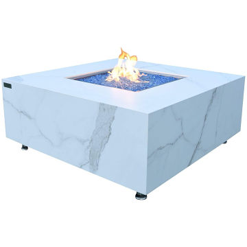 Elementi OFP103BW-NG Bianco Marble Porcelain Fire Table - Natural Gas
