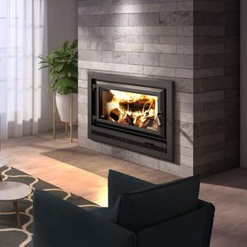 Ventis HE275CF Contemporary Large Single Door Wood Fireplace and Modern Hot Air Gravity Kit with Adjustable Pipes