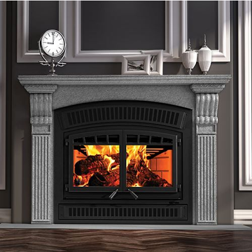 Ventis HE350 Ventis Large Double Door Wood Fireplace and Traditional Faceplate