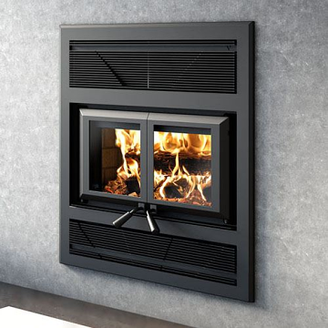Ventis HE325 Large Double Door Wood Fireplace and Traditional Faceplate