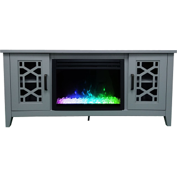 """Cambridge 56"""" Stardust Electric Fireplace with Crystals - Slate Blue"""