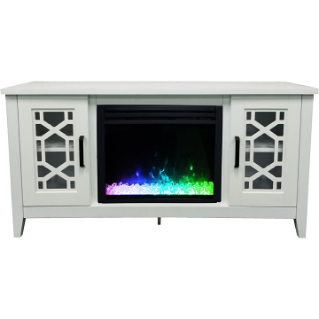 """Cambridge 56"""" Stardust Electric Fireplace with Crystals - White"""