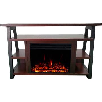 "Cambridge 32"" Sawyer Electric Fireplace Mantel/Enhanced Logs - Mahogany"