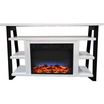 "Cambridge 32"" Sawyer Electric Fireplace Mantel/Logs/LED - WHT/BLK"