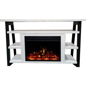 "Cambridge 32"" Sawyer Electric Fireplace Mantel/Enhanced Logs - WHT/BLK"