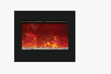 """30"""" ZECL Electric Fireplace with 32"""" x 26"""" Black Glass Surround"""