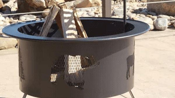 """Buck Stove 30"""" Round Wildlife Pattern Fire Pit in Bronze"""