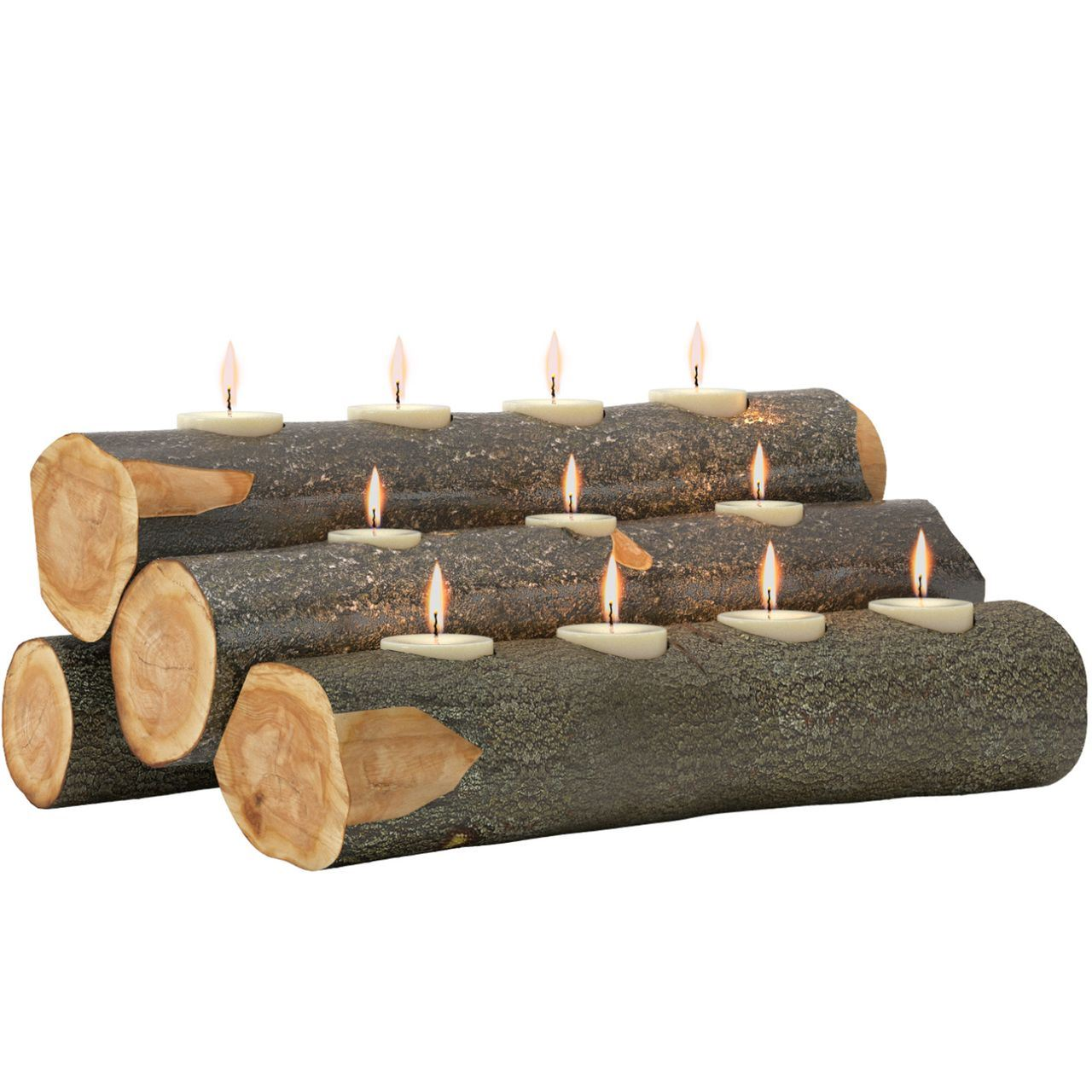 Regal Flame LW4205 Tealight 24in Fireplace Log Candle Holder Insert - Rustic